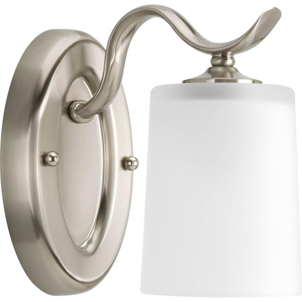 one light brushed nickel etched glass bathroom sconce : p2018-09