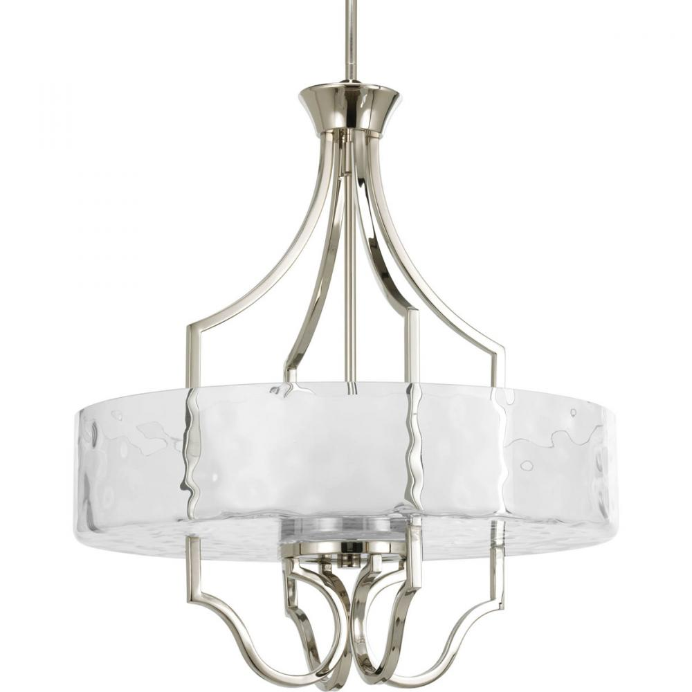 three light polished nickel drum shade pendant p3682 104 premier