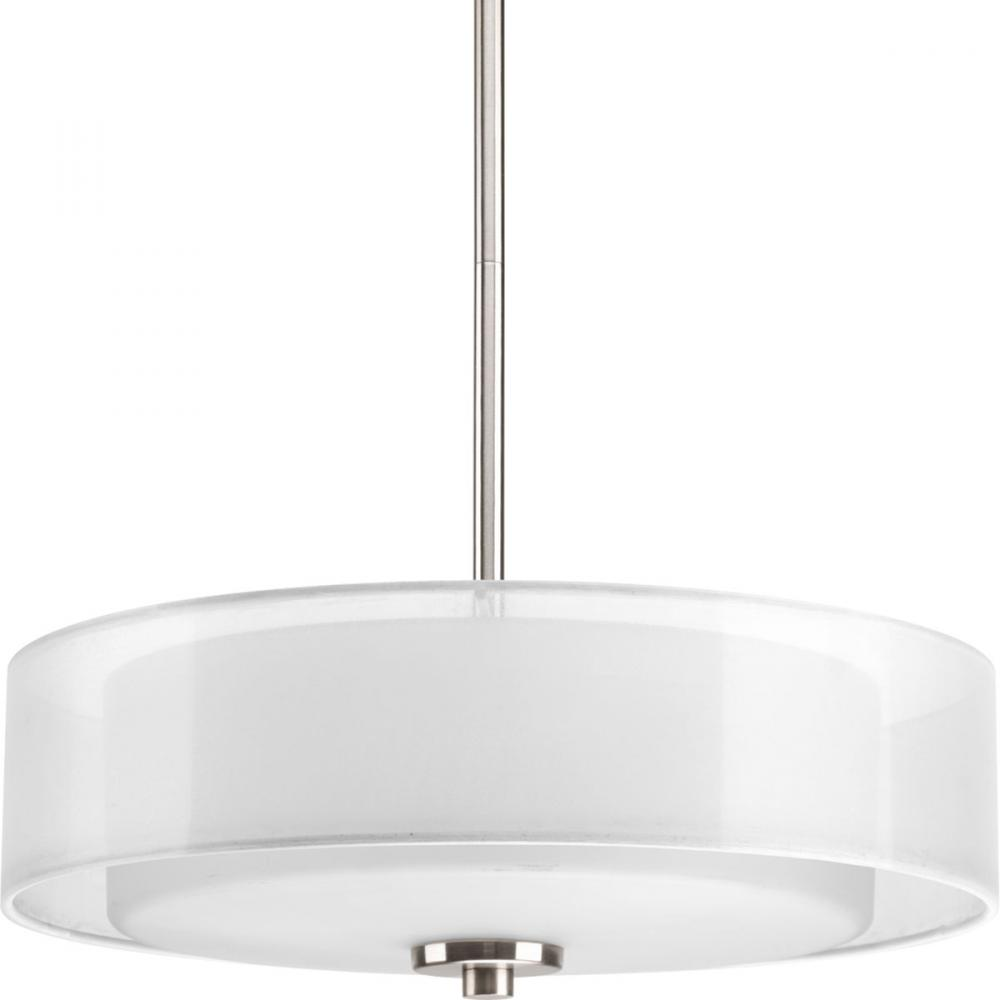 Two Light Brushed Nickel White Glass Drum Shade Flush Mount – White Drum Shade Chandelier