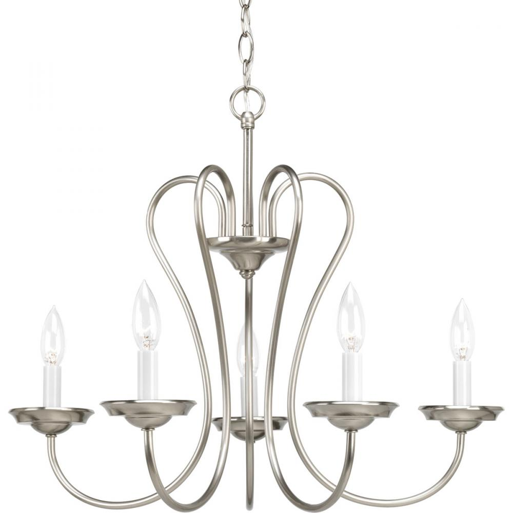Five Light Brushed Nickel White Candle Sleeves Glass Up Chandelier