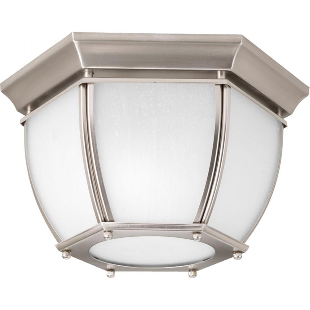 Two light brushed nickel etched seeded glass outdoor flush mount two light brushed nickel etched seeded glass outdoor flush mount aloadofball Images