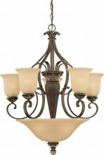 Volume Lighting V2208-82 - Bristol 8-light Vintage Bronze with Antique Gold Chandelier