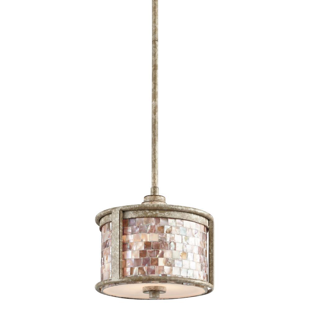one light distressed antique white drum shade mini pendant 43260daw
