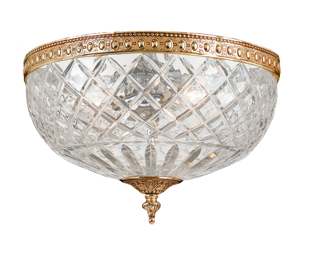 Crystorama 2 Light Brass Crystal Ceiling Mount