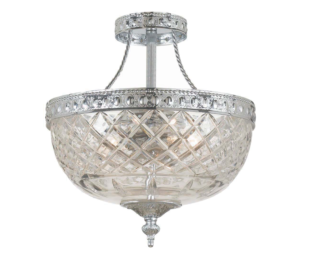 Crystorama 3 Light Chrome Crystal Ceiling Mount