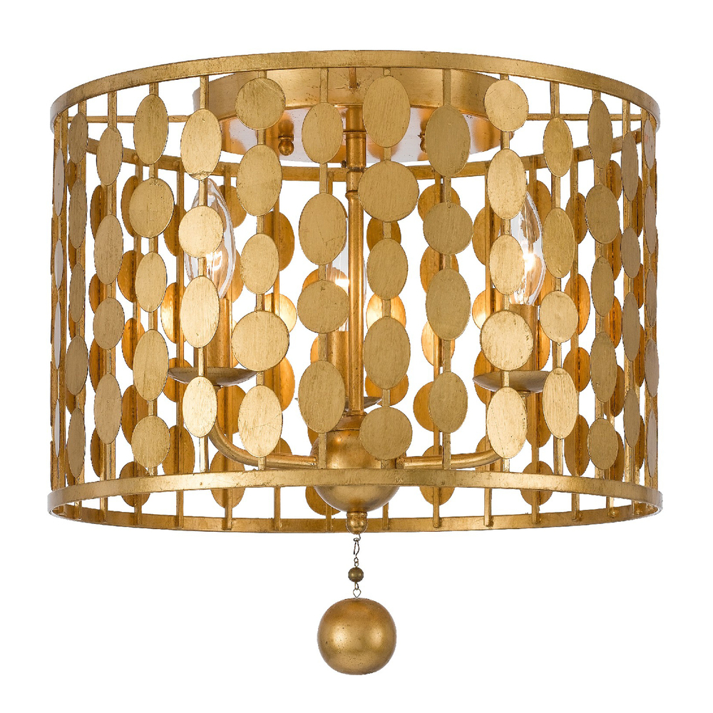 Layla 3 Light Antique Gold Ceiling Mount