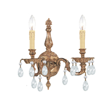 Crystorama 2502-OB-CL-SAQ - 2 Light Spectra Crystal Olde Brass Cast Brass Wall Mount
