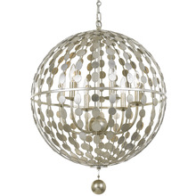 Crystorama 547-SA - Layla 6 Light Antique Silver Chandelier