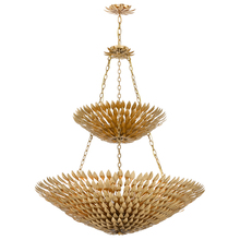 Crystorama 599-GA - Crystorama Broche 18 Light Antique Gold Leaf Pendant Chandelier