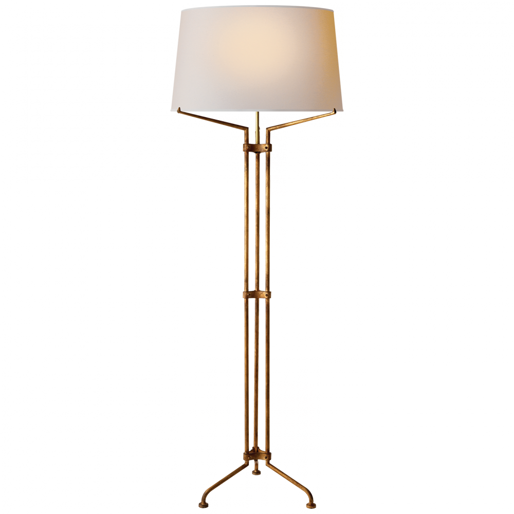 Terrazo Tri-Leg Floor Lamp in Gilded Iron with N
