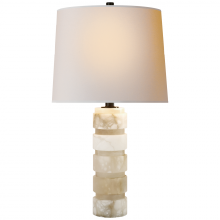 Visual Comfort CHA 8945ALB-NP - Round Chunky Stacked Table Lamp in Alabaster wit