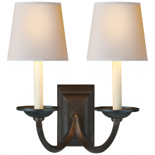 Visual Comfort CHD 1496AI-NP - Flemish Double Sconce in Aged Iron with Natural