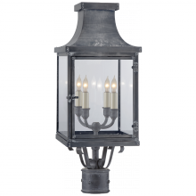 Visual Comfort CHO 7820WZ-CG - Bedford Post Lantern in Weathered Zinc with Clea