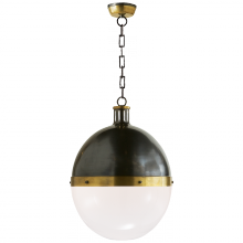 Visual Comfort TOB 5064BZ/HAB-WG - Hicks Extra Large Pendant in Bronze and Hand-Rub