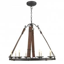 Visual Comfort SK 5019AI - Dressage Round Chandelier In Aged Iron with Leat