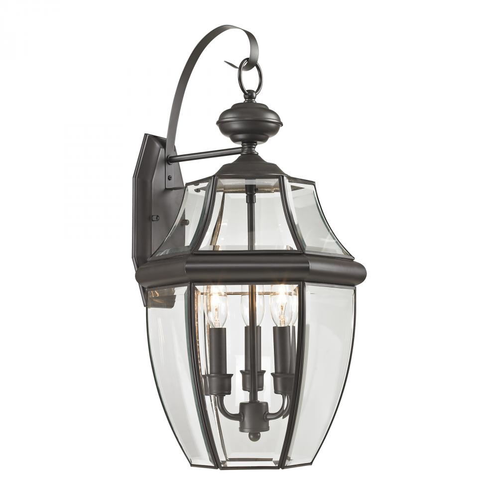 Ashford 3 Light Exterior Coach Lantern In Oil Ru