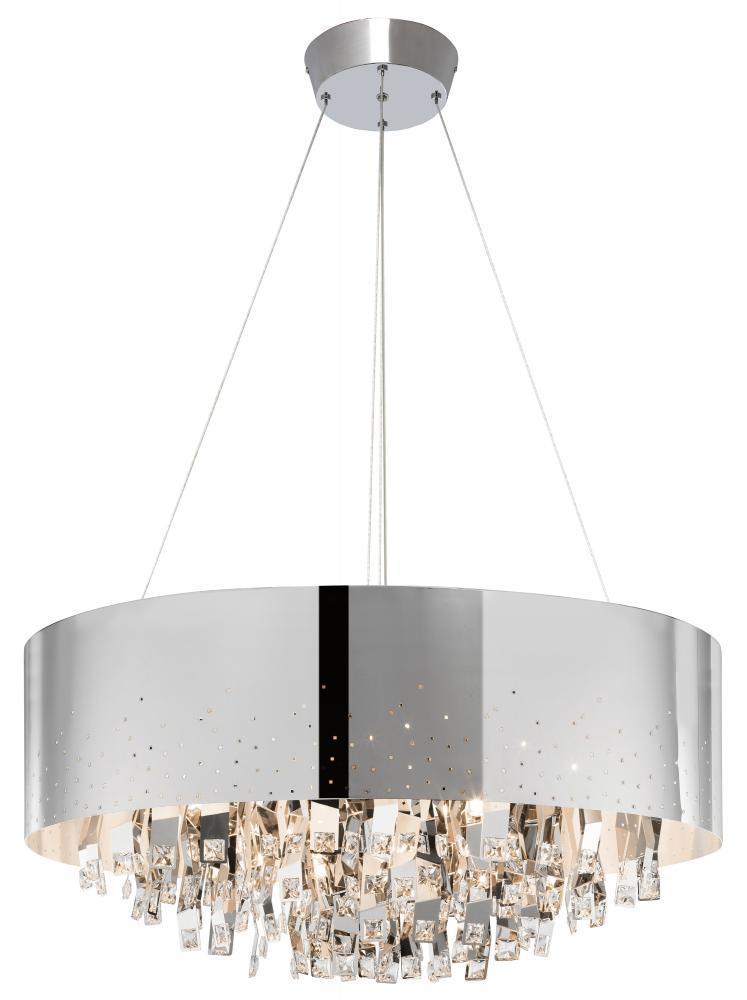 twelve light chrome drum shade chandelier    premier, Lighting ideas