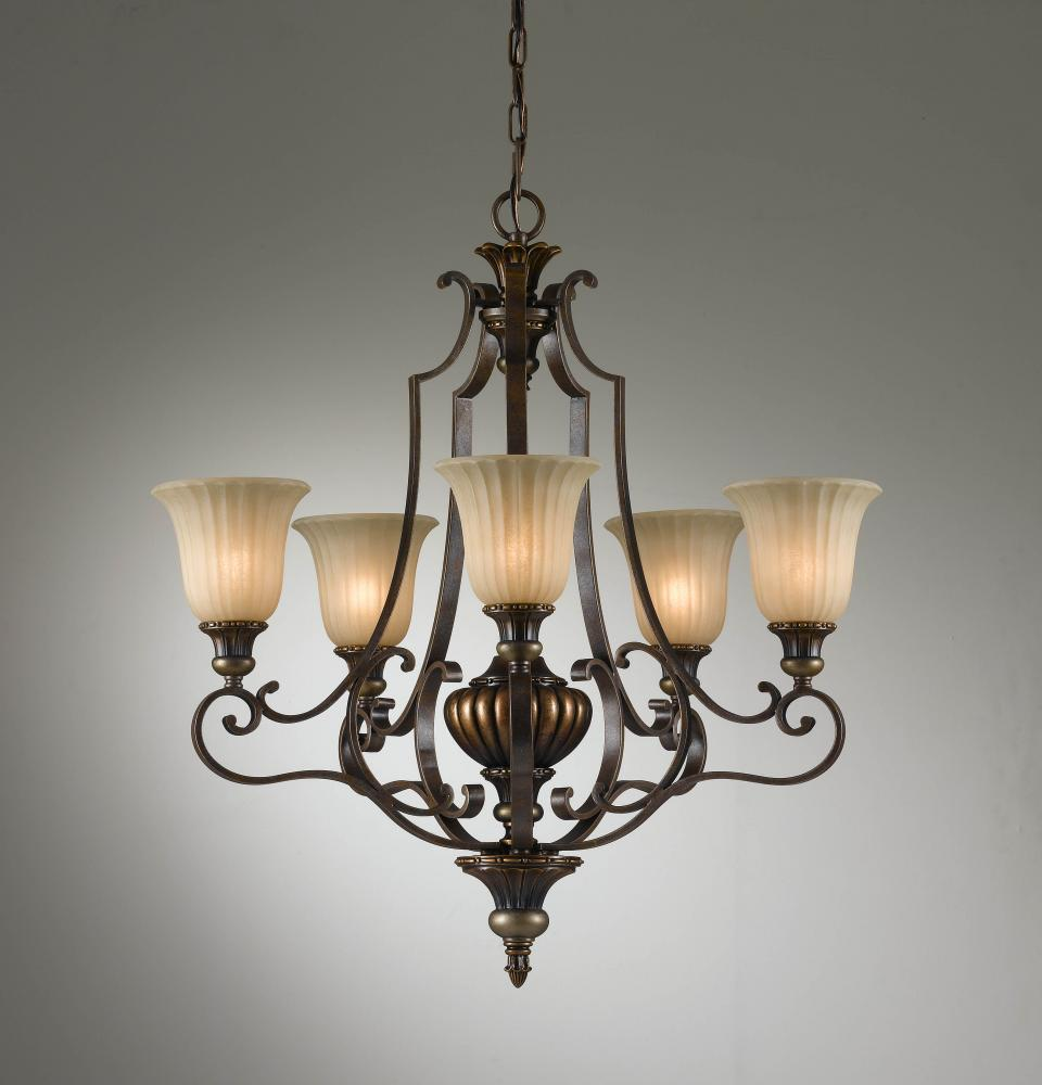 5- Light Single Tier Chandelier : F2503/5FG/BRB | Premier Quality ...