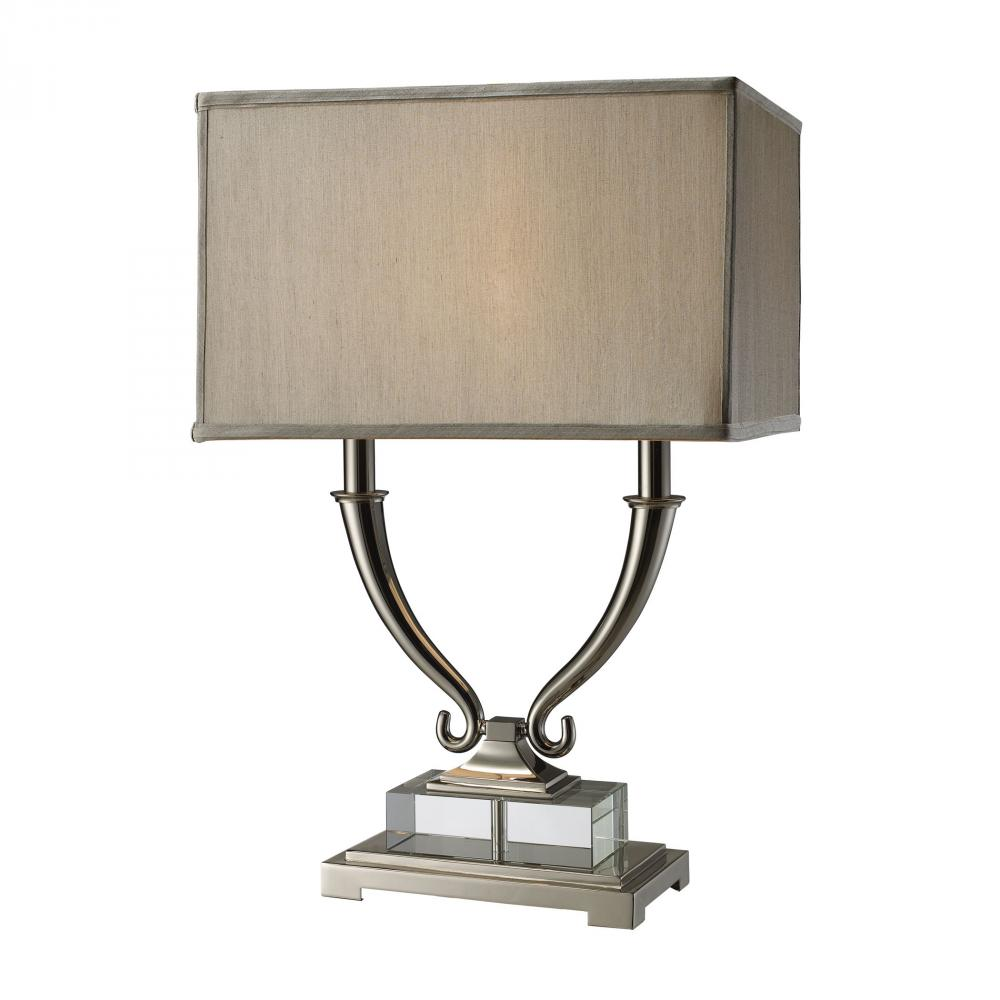 Roberts 2 Light Table Lamp In Polished Nickel And Clear Crystal