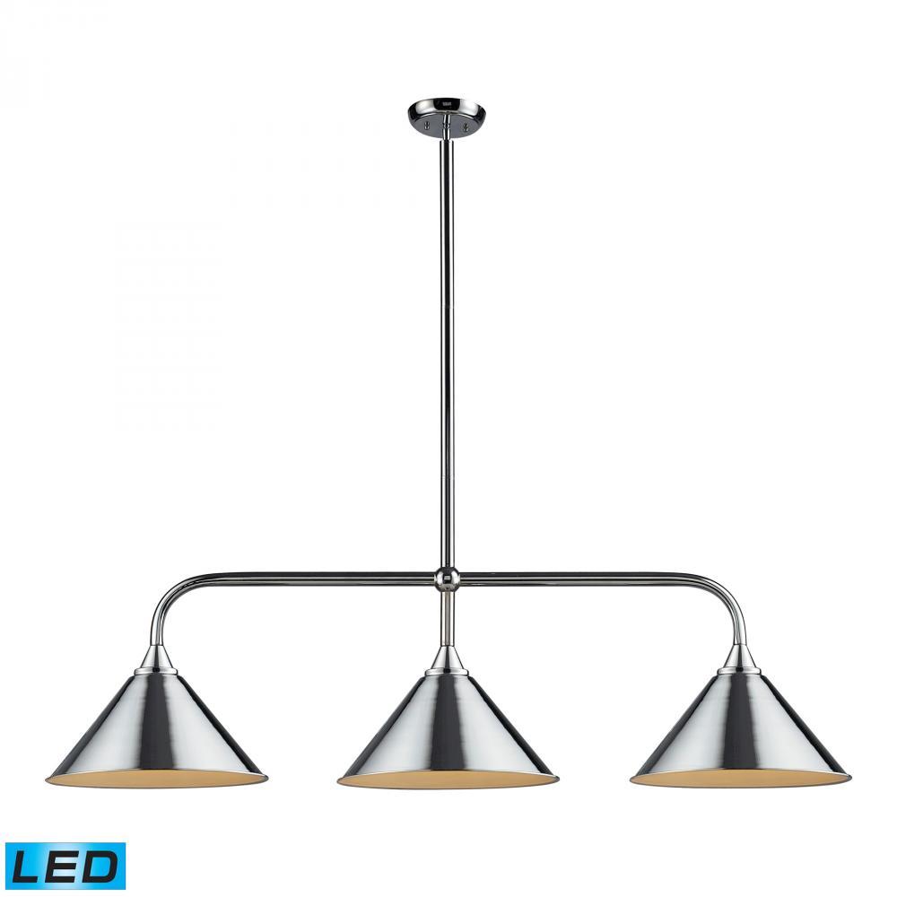 lighting 73044 3 led three light polished chrome pool table light