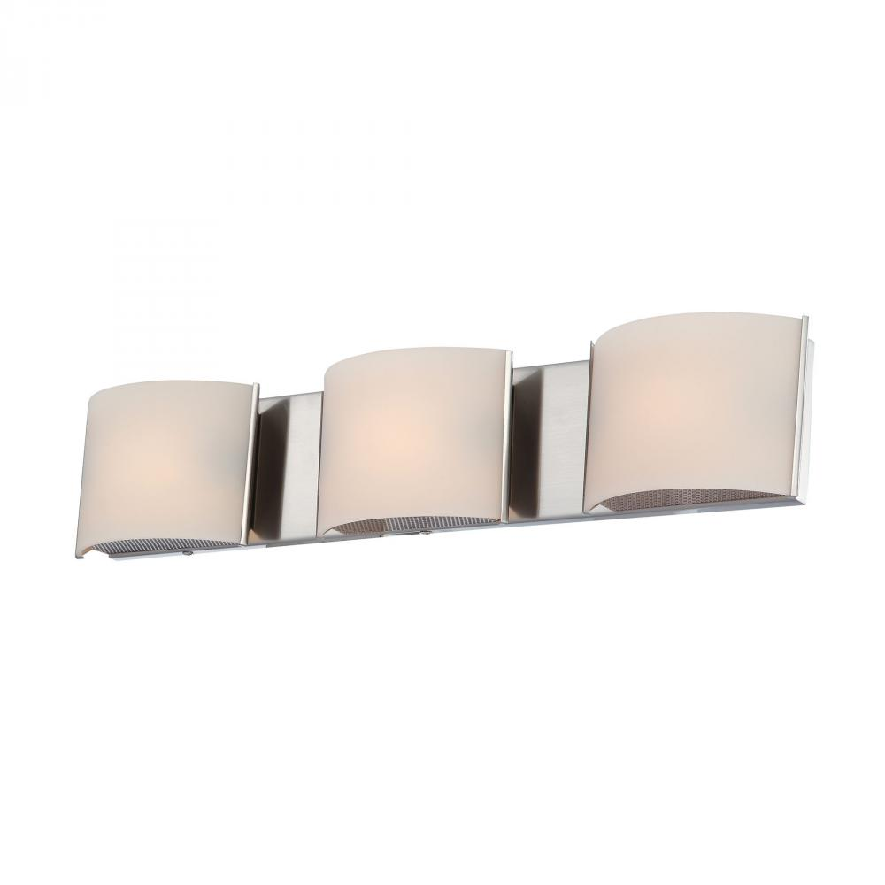 Pandora 3 Light Vanity In Satin Nickel And White