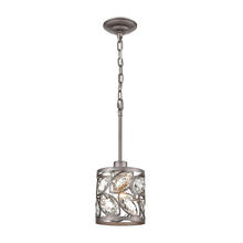 ELK Lighting 12245/1 - Crisanta 1-Light Mini Pendant in Weathered Zinc with Clear Crystal