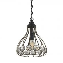 ELK Lighting 81105/1 - Crystal Web 1-Light Mini Pendant in Bronze and Matte Black with Clear Crystal